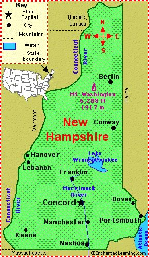 New Hampshire: Facts, Map and State Symbols - EnchantedLearning.com which is the 9th State to enter the Union on June 21, 1788. The capital is Concord