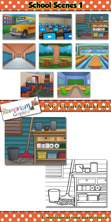 This School Background Scenes Clip art is part 1 of a 3 part series.