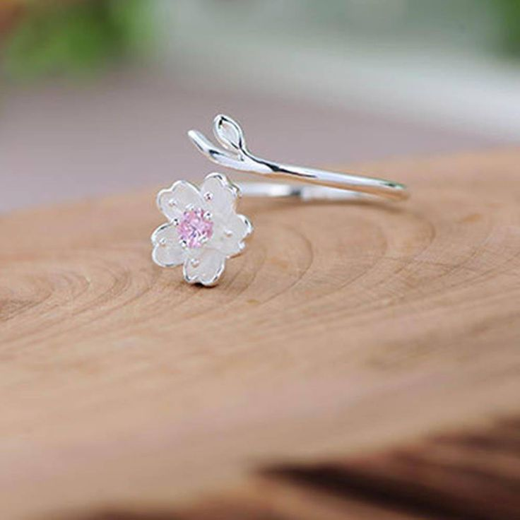 Silver Color Poetic Daisy Cherry Blossom Finger Ring