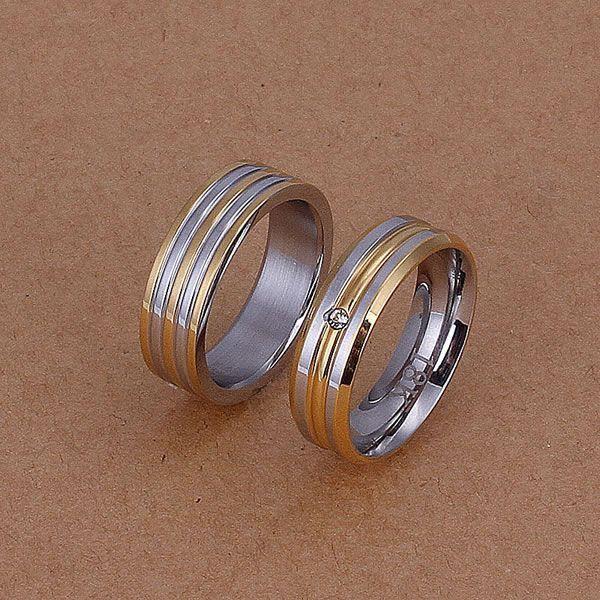 S228 925 Hot Selling silver jewelry set, fashion jewelry set Gold Stripes Rings S228 /anaajeha aysajpza #Affiliate