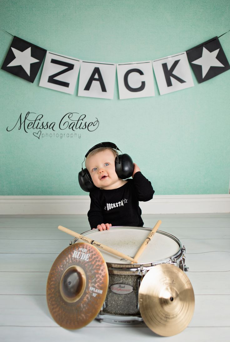 Melissa Calise Photography (First 1st Birthday photo session posing ideas drums baby boy cake smash)