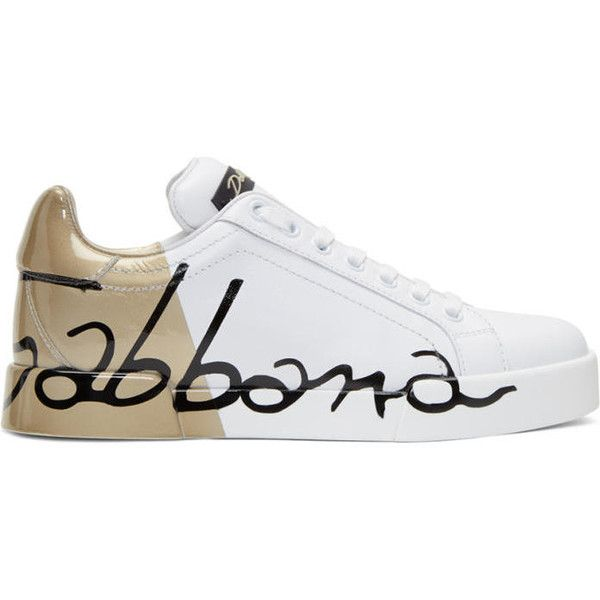 Dolce and Gabbana White and Gold Writing Sneakers (975 CAD) ❤ liked on Polyvore featuring shoes, sneakers, white, white low tops, metallic shoes, low profile sneakers, metallic sneakers and lace up shoes