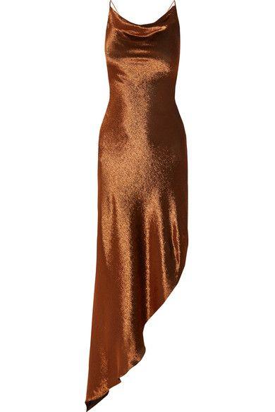 Juan Carlos Obando - Asymmetric Metallic Stretch Silk-blend Maxi Dress - Copper - US10