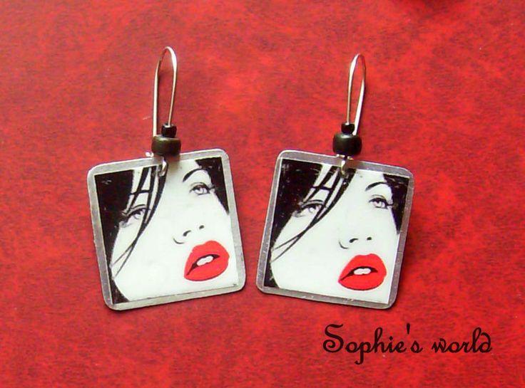 handmade earrings popart image σκουλαρίκια με υγρό γυαλί  https://www.facebook.com/Sophies-world-712091558842001/