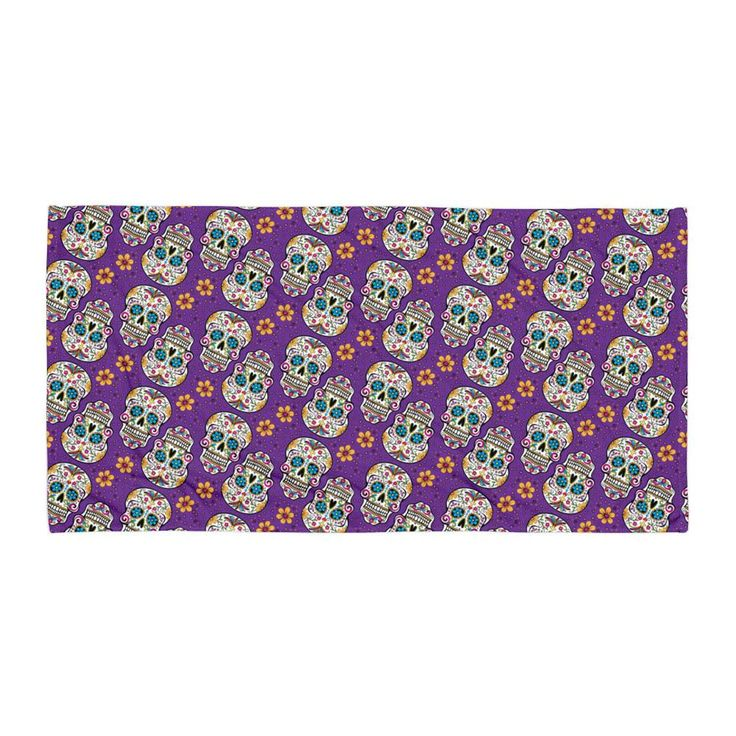 Sugar Skulll Day of The Dead PURPLE Towel