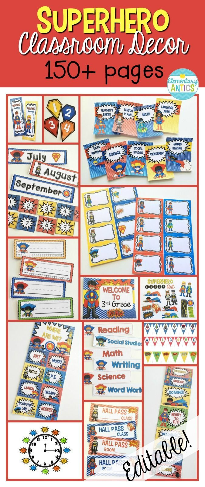 Superhero theme classroom decor with practically everything you need!  Welcome posters, calendars, binder covers, labels, banner, team numbers, behavior clip chart and MORE!