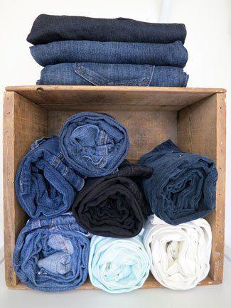 100 days of organizing, organization tips- store denim in Crates!  - Good idea for my closet DIY shelves