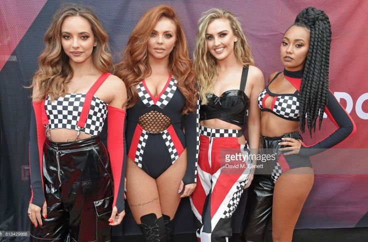 Jade Thirlwall, Jesy Nelson, Perrie Edwards and Leigh-Anne Pinnock of Little Mis pose backstage at F1 Live London at Trafalgar Square on July 12, 2017 in London, England. F1 Live London, the first time in Formula 1 history that all 10 teams come together outside of a race weekend to put on a show for the public in the heart of London.