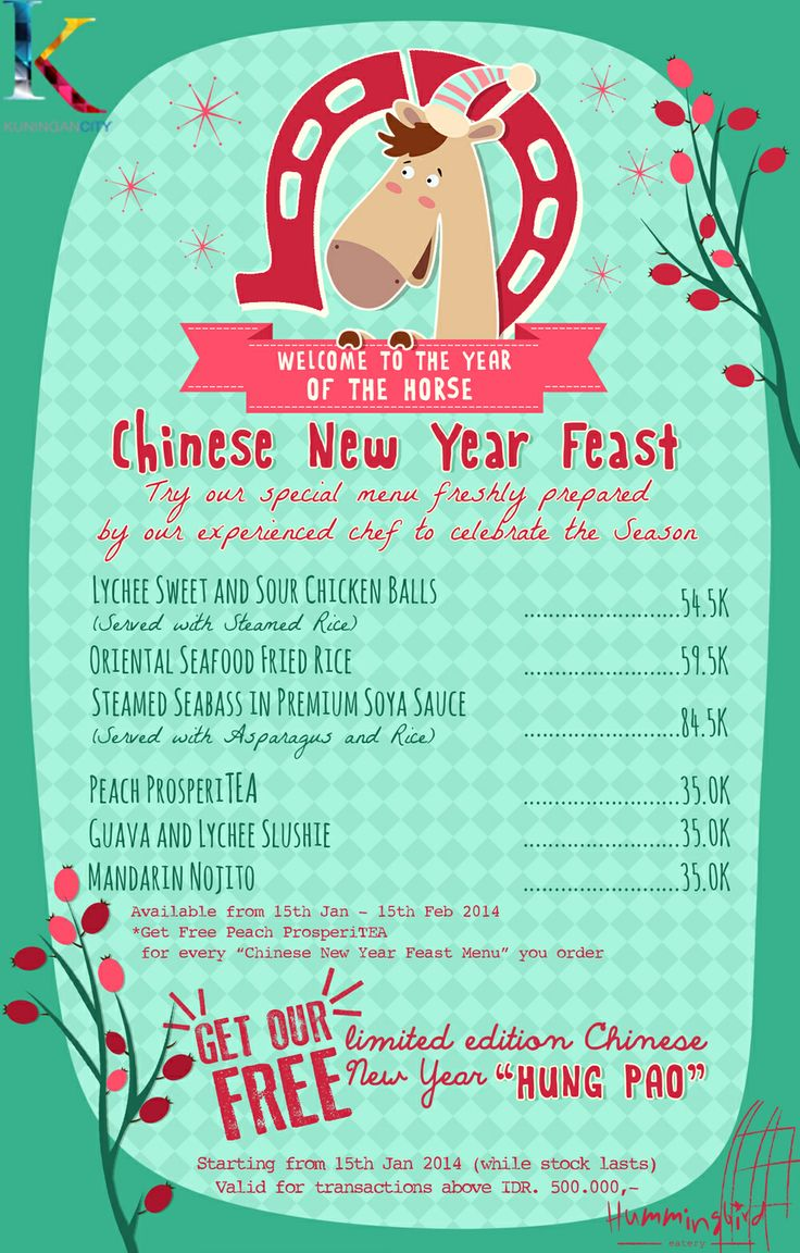 "Chinese New Year Feast at Hummingbird Eatery  Get FREE Peach ProsperiTEA, for every ""Chinese New Year Feast Menu"" you order"