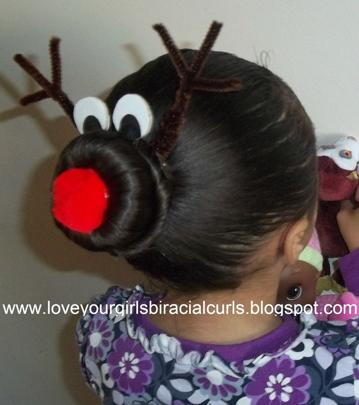 Love Your Girls Biracial Curls: Reindeer Christmas Hair Style and Sock Bun Tutorial