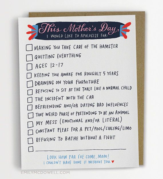 Checklist Mother's Day Card, Funny Mother's Day Card / No. 239-C