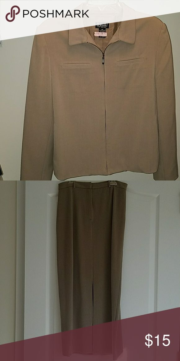 """Tan suit Made by Rafaella Petites, this tan jacket and skirt will have you looking stylish and powerful around the office. The jacket has a zip front closure and two front pockets. The skirt is long; I'm 5'3"""" and it comes almost to my ankles. It has zip and hook closures and a sexy split in the front. The suit is a polyester, rayon, and lycra blend in very good condition. Rafaella Other"""