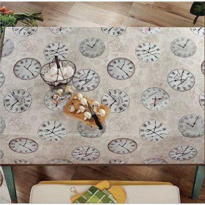 "Winston Porter Tara Time Clock Vinyl Indoor/Outdoor Non-Woven Backing Kitchen Picnic Tablecloth Size: 55"" W x"