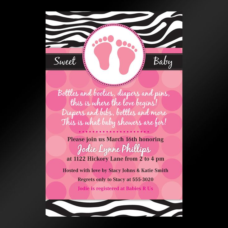 40 best it's a girl images on pinterest | zebra baby showers, Baby shower invitations