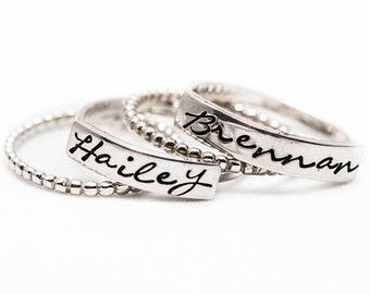 Stacking Name Ring Hand Stamped Mother's Ring by thecharmedwife