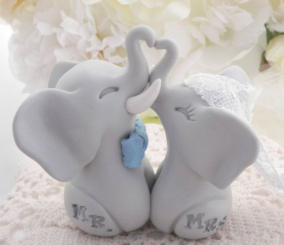 Elephant Wedding Cake Topper Light Grey Elephants by LavaGifts