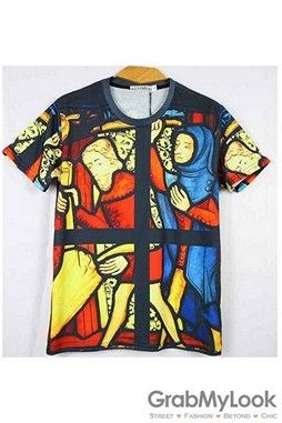 GrabMyLook  Jesus Maria Church Stained Glass Punk Rock Mens Short Sleeves T-Shirt