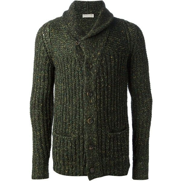 ROBERTO COLLINA chunky knit cardigan (1.615 NOK) ❤ liked on Polyvore featuring men's fashion, men's clothing, men's sweaters, mens shawl collar sweater, mens shawl collar cardigan sweater and mens green sweater