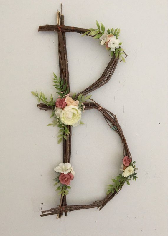 Woodland Kindergartenbrief Twig Monogram Nummer Rustic Wall Baby Girl Fee Hochzeitsdusche Whimsical Nature Decoration Natural ABC Art
