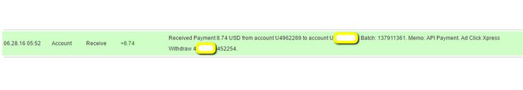 I am getting paid daily at ACX and here is proof of my latest withdrawal. This is not a scam and I love making money online with Ad Click Xpress  http://www.adclickxpress.is/?r=qgzmr7jje6qzbr&p=ajgbm  The amount of 8.74 USD has been deposited to your Perfect Money account. Accounts: U4962269->UXXXXXXX. Memo: API Payment. Ad Click Xpress Withdraw 4XXXXXX-452254.. Date: 05:52 28.06.16. Batch: 137911361