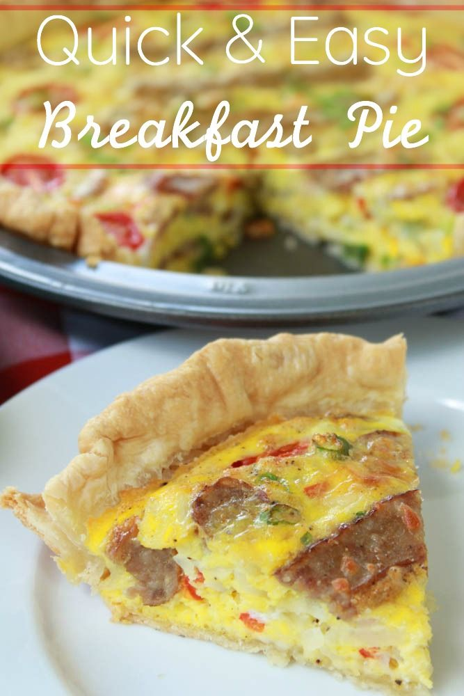 Nothing says I love you in the morning better than this Quick & Easy Breakfast Pie recipe with sausage, hashbrowns, eggs, and cheese -- YUM!