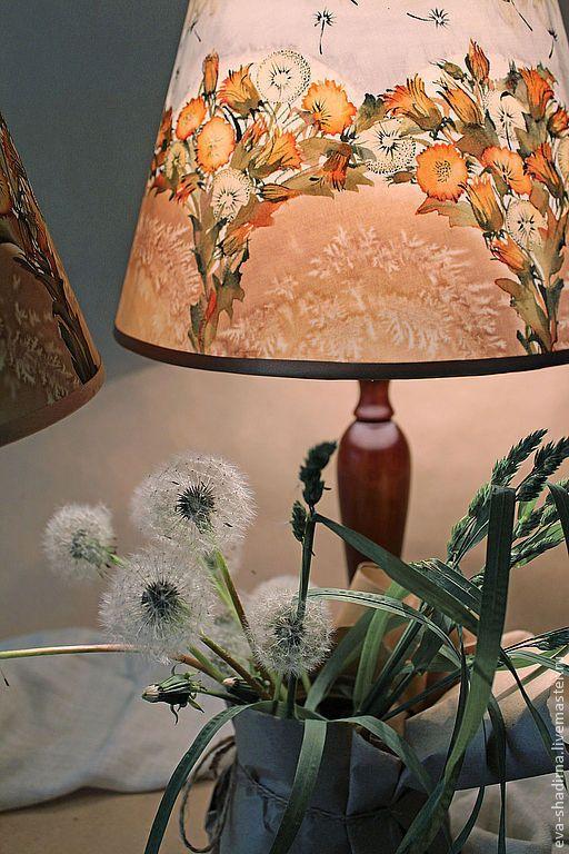 """Купить Настольные лампы парные (абажур батик) """"Легче воздуха"""" - светильник, светильник настольный"""