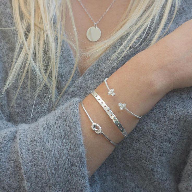 Silver Love ⭐️ Small basic necklace, knot bangle, barcelona bangle & matilda bangle.. love them so... www.luilu.com ⭐️