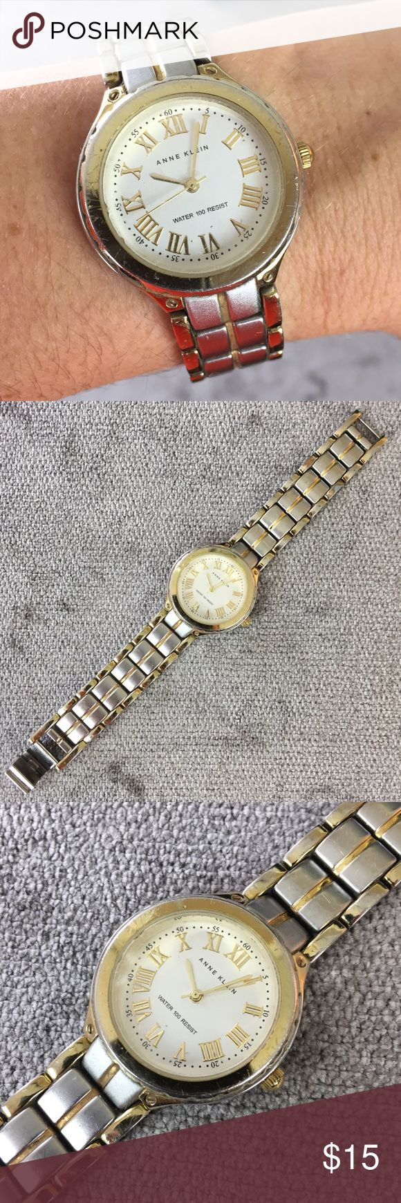 "Anne Klein Ladies Fashion Watch Roman Numerals Classic silver watch by Anne Klein (Skagen). Water resistant to 100 feet. Round face with roman numerals. Fits my wrist that is 6"". May need battery.  *Some of the finish on the underside of the band is coming off as seen in photos but doesn't affect the watches' appearance when wearing. Anne Klein Accessories Watches"