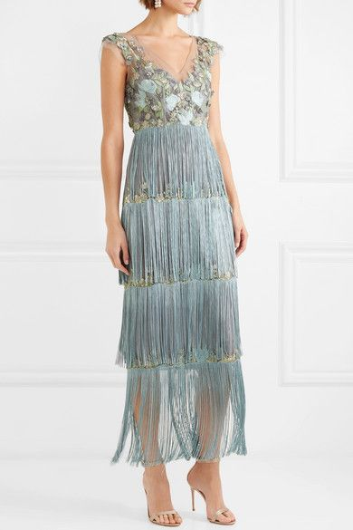 2f8f53c92b88 Marchesa Notte | Fringed embellished tulle and satin gown | NET-A-PORTER.COM