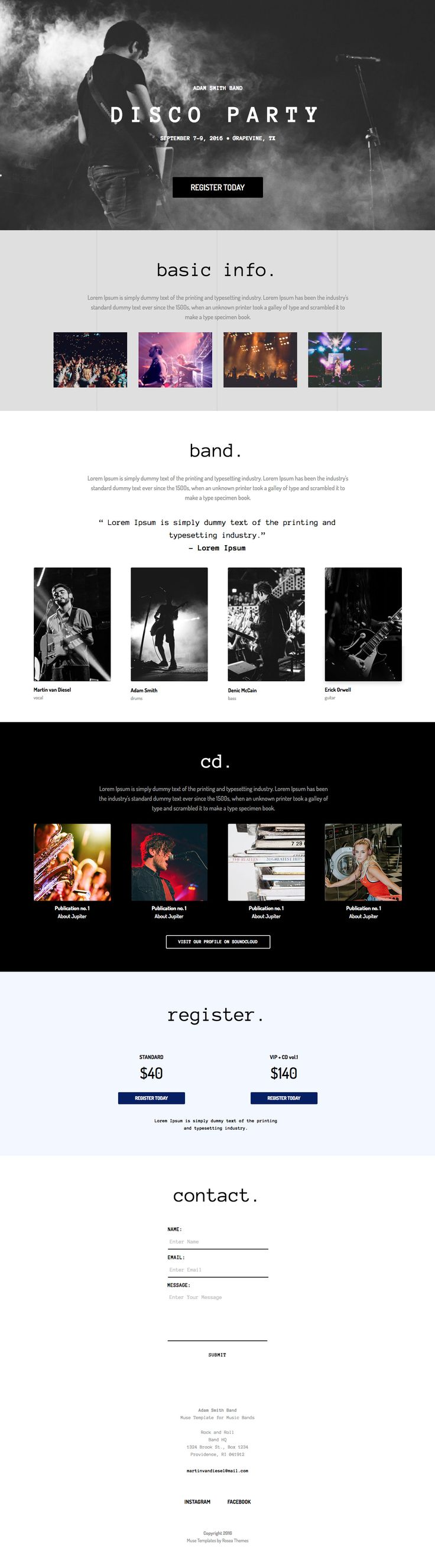 Music Band Template for Adobe Muse #band #music #template #theme #web #design #ui #inspire