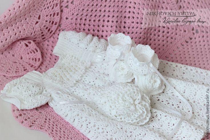 """Купить Крестильный набор для девочки """"Принцесса"""" - белый, вязаное платье, платье для крещения, крестильный комплект"""