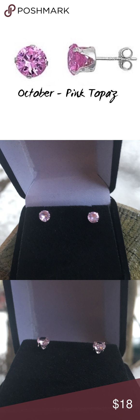 NEW OCTOBER STUDS NEW OCTOBER STUDS ARE SWAROVSKI PINK ELEMENTS SET IN STERLING SILVER WITH BUTTERFLY BACKS MEASURES APPROX 5MM includes black velvet gift box BOUTIQUE Jewelry Earrings