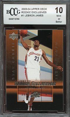awesome 2003-04 upper deck rookie exclusives #1 LEBRON JAMES rookie card BGS BCCG 10 - For Sale View more at http://shipperscentral.com/wp/product/2003-04-upper-deck-rookie-exclusives-1-lebron-james-rookie-card-bgs-bccg-10-for-sale/