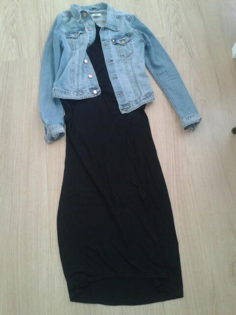 Maxi dress and denim jacket
