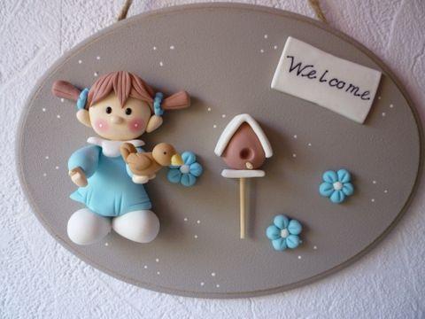 door plate, Polymer Clay, masa flexible, cold porcelain, masa francesa, porcelana fria