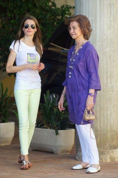 (L-R) Spanish Princess Letizia and Queen Sofia arrive at the Calanova Sailing School on 2 Aug 2013 in Palma de Mallorca, Spain