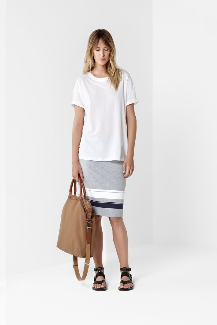 White Caddy Tee Border Stripe Mid Double Skirt
