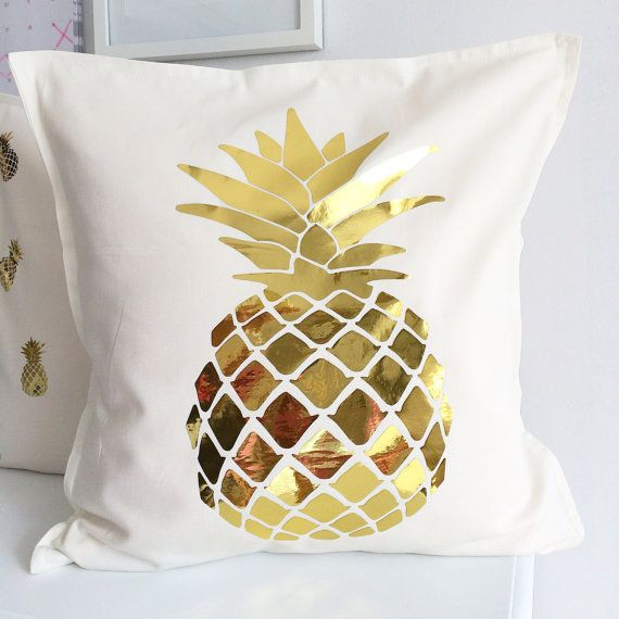 This adorable gold metallic pineapple is heat transfer material on 100% cotton pillow cover