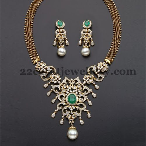 Diamond Gold Combined Latest Necklace | Jewellery Designs