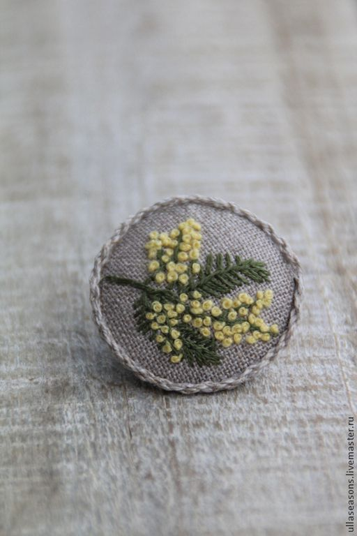 Brooches handmade. Livemaster - handmade. Buy Brooch 'Mimosa'.Yellow, brooch, brooch with embroidery, embroidered brooch