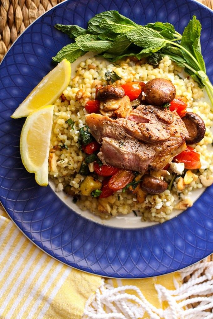 Lamb Leg Steaks with Veggie-Packed Israeli Cous Cous