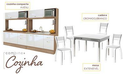 Compre Cozinha Compacta com Mesa e 4 Cadeiras Teka/Branco/Cromado - Combine + em Promoção com ✓ Até 12x ✓ Fretinho