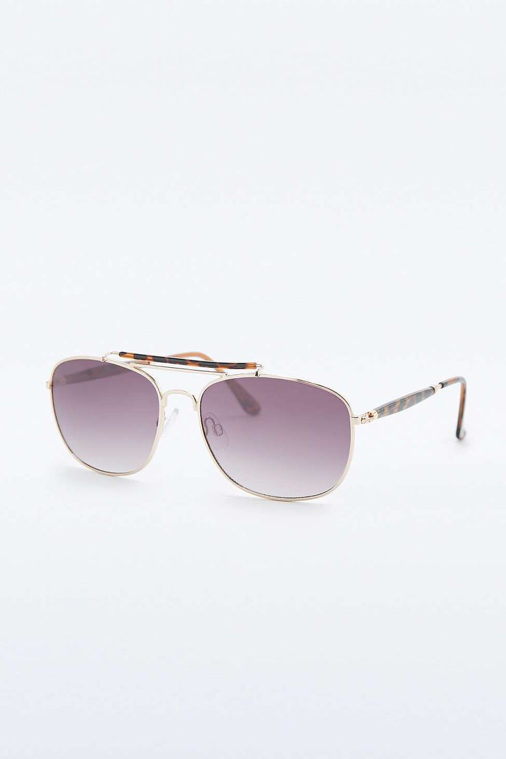 Urban Outfitters Gold Square Aviator Sunglasses with Browbar