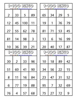 From Clever Classroom on TpT. 1-100 Bingo - Numeral Identification Game - PDF file3 page file.12 games
