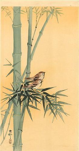 Sparrows on bamboo tree - Ohara Koson