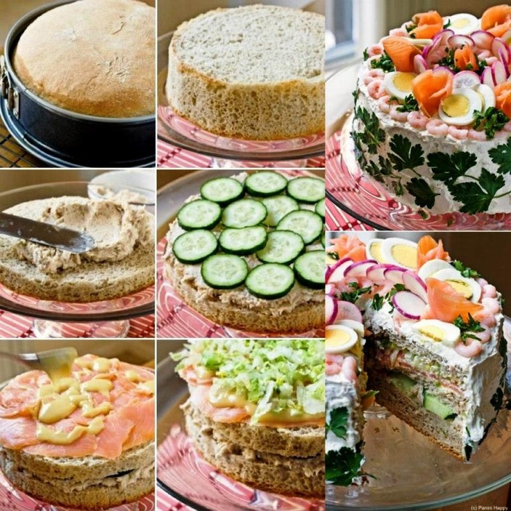 Sandwich cake idea. Salty cake prepared with bread, vegetables, salami and cheese