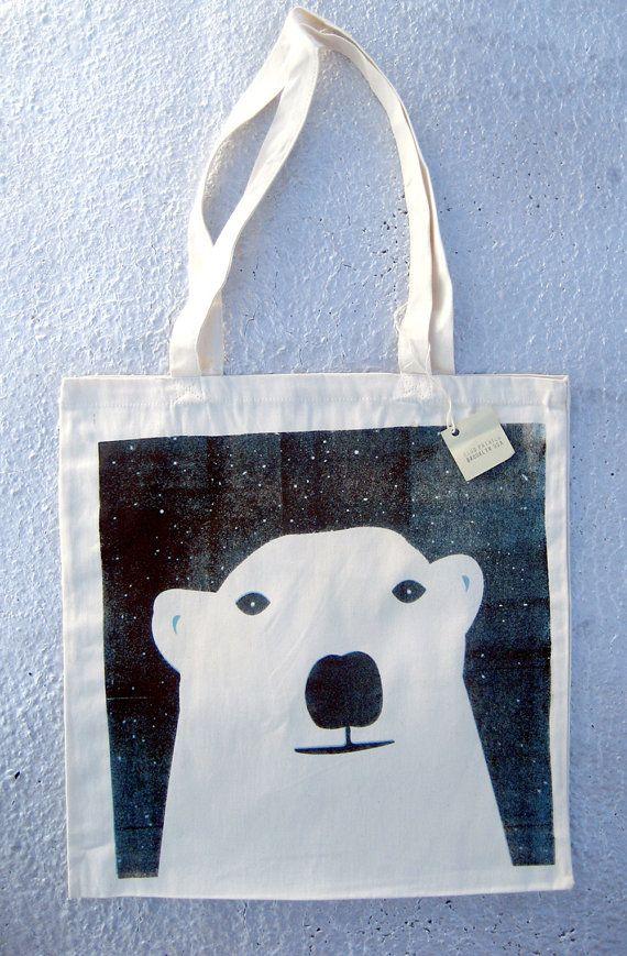 Cool Bear Screenprinted Tote Bag by brightbeige on Etsy, $12.00