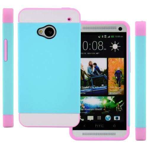 CellJoy Hybrid TPU 2PC Layered Hard Case Rubber Bumper for HTC ONE M7 (At&t / Sprint / T-Mobile / Unlocked) [CellJoy Retail Packaging] (Teal Blue / White / Pink) CellJoy http://www.amazon.com/dp/B00DQZ2SMO/ref=cm_sw_r_pi_dp_pTLJtb12J8HP0MVD