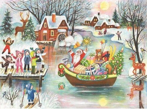 Sailing Santa in Boat German Advent Calendar Made in Germany Christmas Countdown