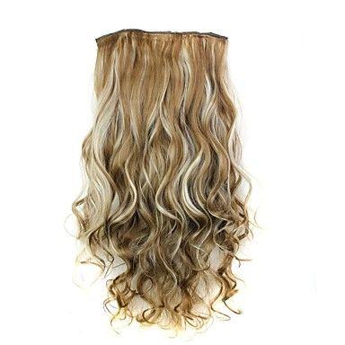 24+polegadas+120g+calor+longa+de+fibra+sintética+resistente+encaracolado+clipe+em+extensões+de+cabelo+com+5+clips+–+BRL+R$+18,62